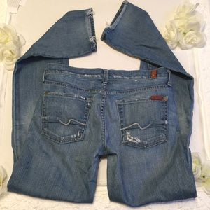 7FAMK jeans slim straight leg distressed LONG